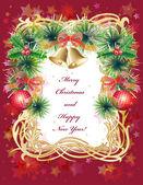 Christmas gratulationskort med bollar, klockor och holly — Stockvektor