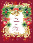 Christmas greeting card with balls, bells and holly — Cтоковый вектор