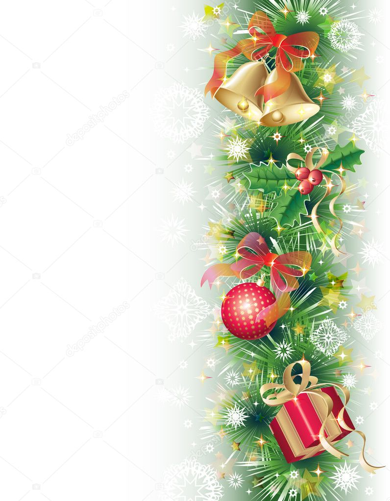 Green, gold and red background with christmas symbols (balls, bells, holly and gift box) — Stock Vector #4336173