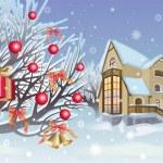 Christmas is in the winter garden — Stock Vector