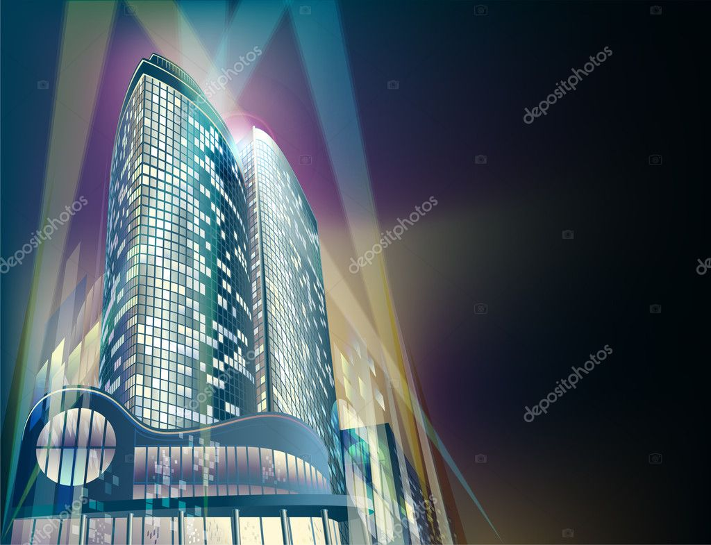 A modern sky-scrapers is in the abstract night cityscape  Stock Vector #4469706