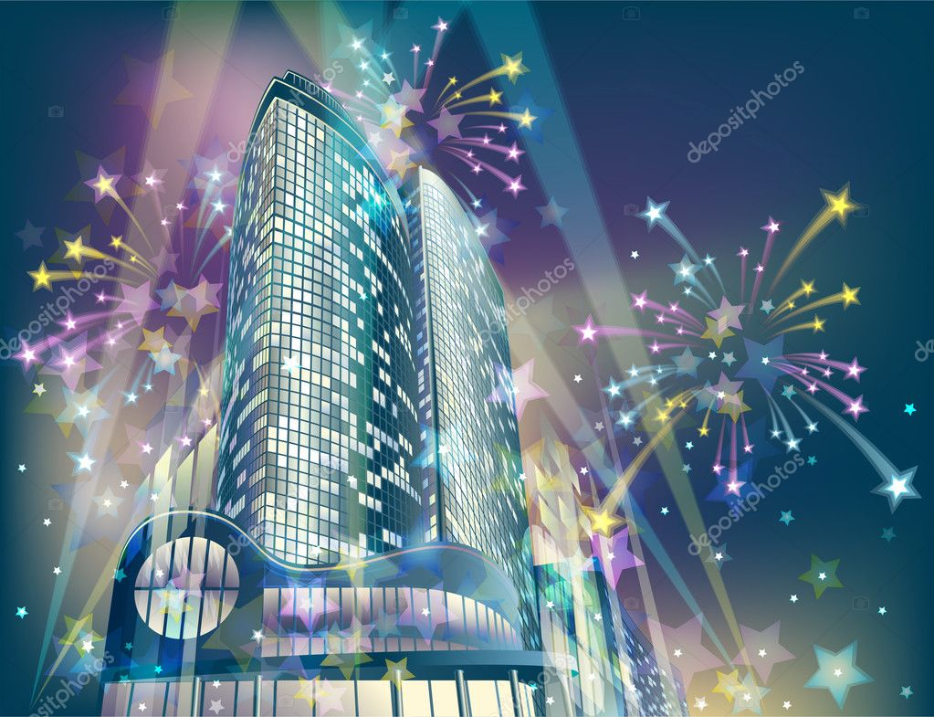 Night background with modern city buildings and holiday fireworks — Stock Vector #4502386