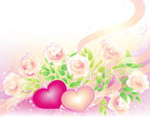 Valentines background with roses and hearts — Stock Vector