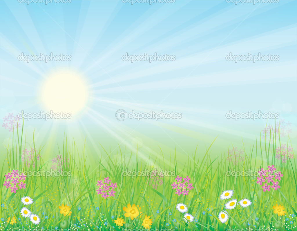 Bright, natural background with the fresh grass and wild flowers — Imagen vectorial #4655977