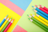 Color paper with crayons — Stock Photo