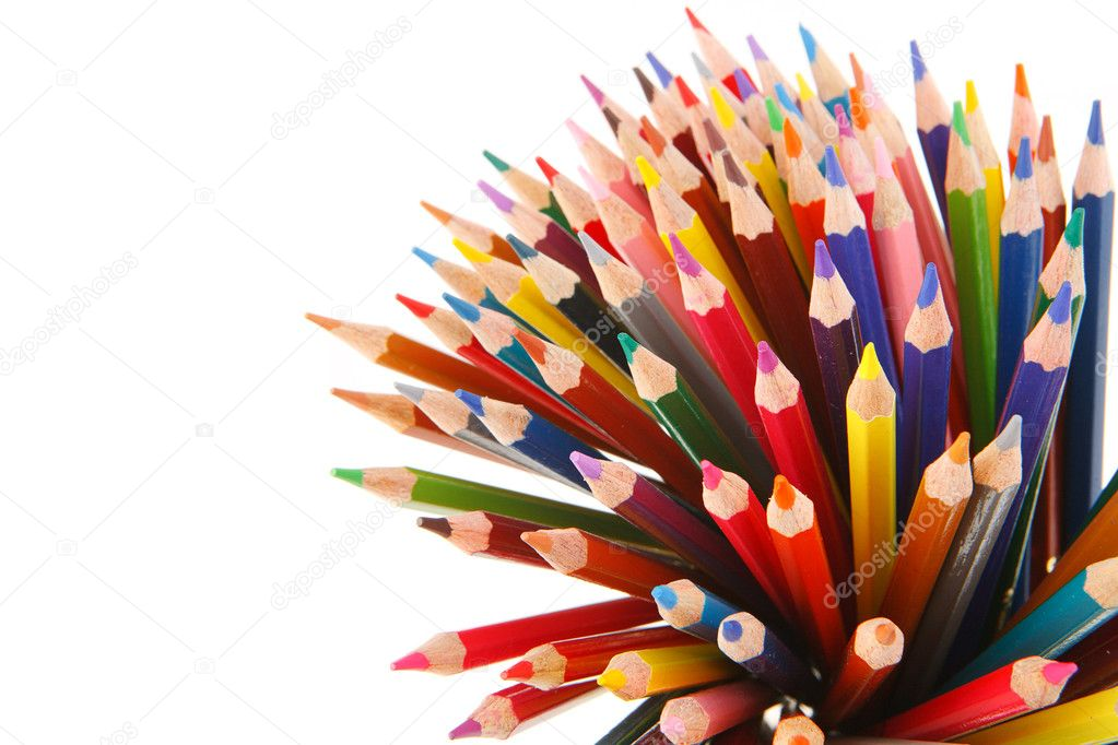 Crayons on white background  Stock Photo #4337304