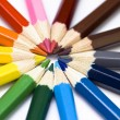 Colored pencil wheel. Pencils isolated. — Stock Photo