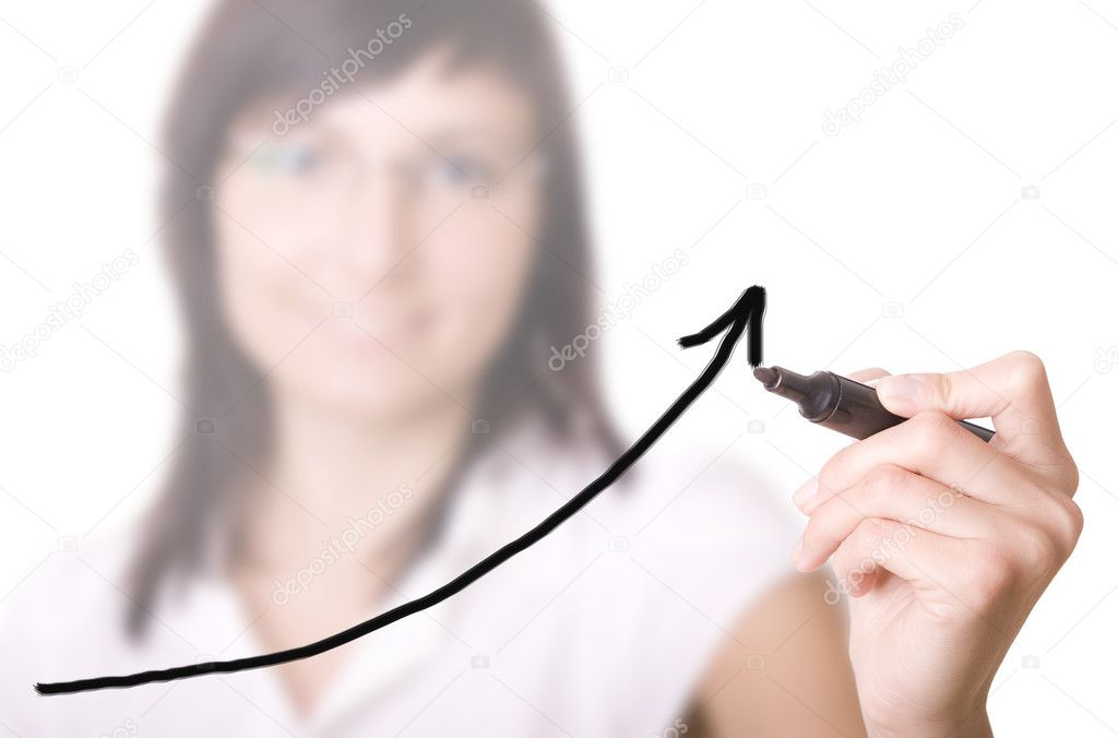 Young businesswoman drawing graph / chart on white background.  — Stock Photo #3945298