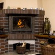 Log Cabin Fireplace — Stock Photo