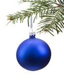 Blue Christmas bauble on the tree — Stock Photo