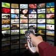 Digital television production concept, remote control TV. — Stock Photo