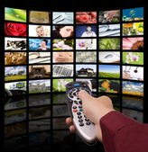 Digital television production concept, remote control TV. — Stock Photo
