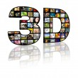 3D television concept image. TV movie panels — Stock Photo