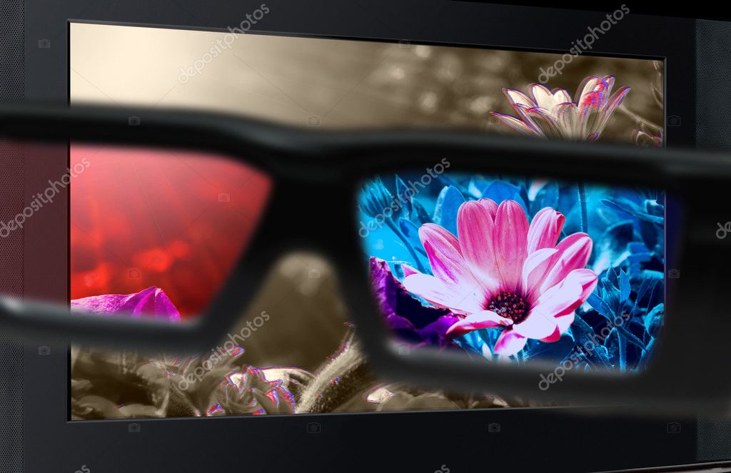Glasses 3D in front of the TV with a flower. 3D television. — Stock Photo #4925507