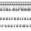Vector metal alphabet with bolts and scratches — Imagen vectorial