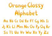 Orange glossy alphabet — Stock Vector