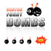 Vektor uppsättning tecknade bomber — Stockvektor
