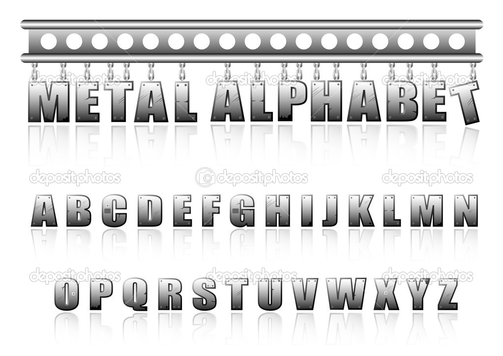 Vector metal alphabet with bolts and scratches — Stock Vector #3974655