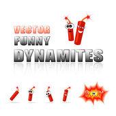 Vector set of cartoon dynamites — Stock Vector