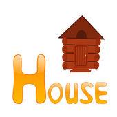 Alfabeto divertente per i bambini. casa - lettera h — Vettoriale Stock