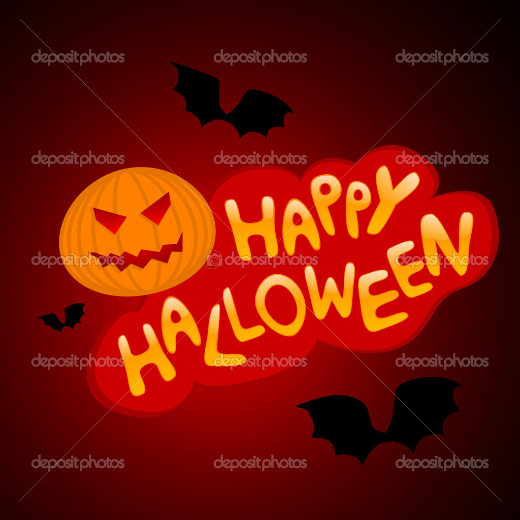 Vector illustration of halloween congratulatory title with pumpkin and bats — Stock Vector #4190894