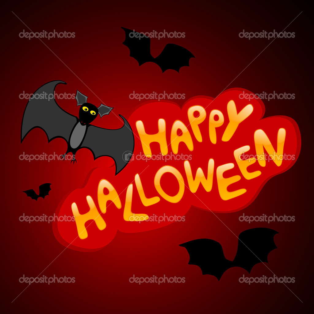 Vector illustration of halloween congratulatory title with bat  Stock Vector #4190897
