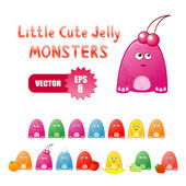 Cute little jelly monsters — Stock Vector