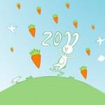 Cartoon bunny in the carrot rain — Stock Vector #4975673