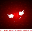 Romantic wallpaper with winged heart - Stock Vector