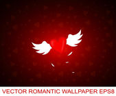 Romantic wallpaper with winged heart — Stock Vector