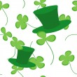 Royalty-Free Stock Vector Image: Clovers and green hats seamless