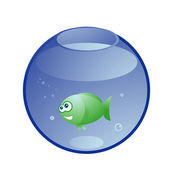 Yeşil balık akvaryum gülümseyen — Stok Vektör