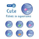Cute cartoon vissen in aquaria — Stockvector