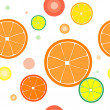 Vector seamless with color oranges slices — Stock Vector