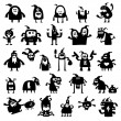Christmas monsters silhouettes — Stock Photo