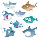 Angry sharks — Stock Vector