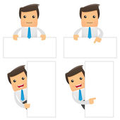 Set of funny cartoon office worker — Stock Vector