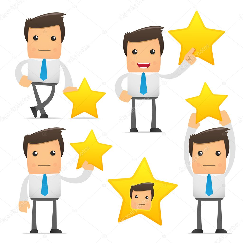 Set of funny cartoon office worker in various poses for use in presentations, etc. — Stock Vector #4800193