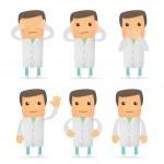 Set of funny cartoon doctor — Stock Vector