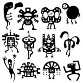 Funny shamans and spirits — Stock Vector