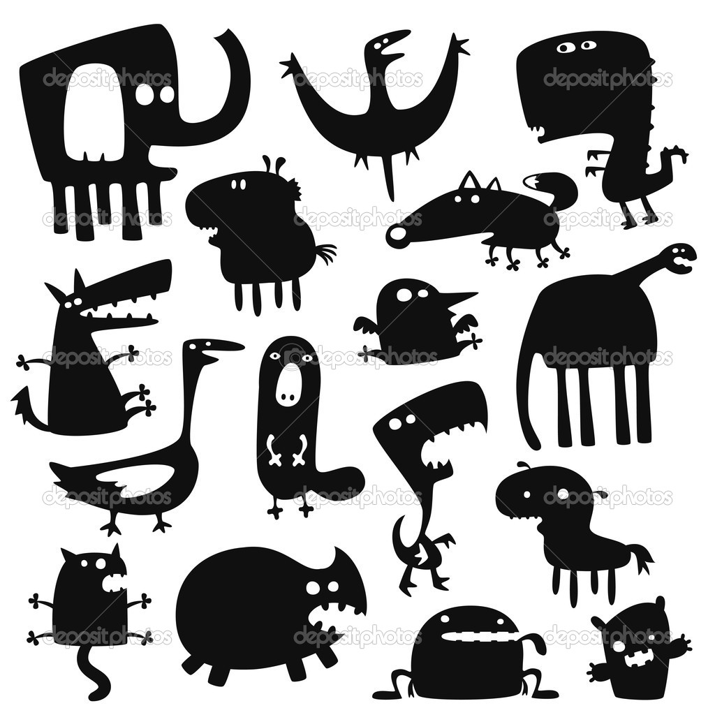 Collection of cartoon funny vector animals silhouettes — Stock Vector #5148448