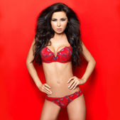 Sexy in Red Lingerie — Stock Photo