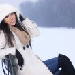 Beauty on snowy outdoors — Stock Photo