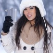 Beauty on snowy outdoors — Stock Photo