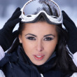 Beauty on snowy outdoors — 图库照片