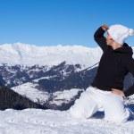Female Snowboarder in Dolomites — Stock Photo #4671437