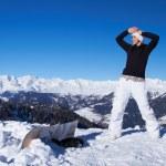 Female Snowboarder in Dolomites — Stock Photo