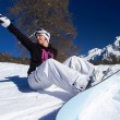 Female Snowboarder in Dolomites — Stock Photo #4671469