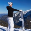 Female Snowboarder in Dolomites - Stock Photo
