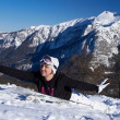 Female Snowboarder in Dolomites — Foto Stock